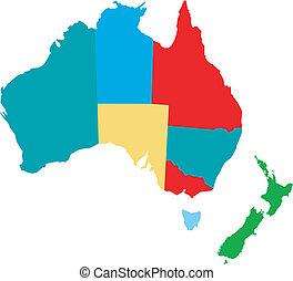 Aurealia and new zeeland - vector map of australia with...