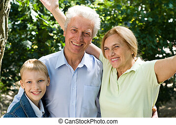 boy with grandparents
