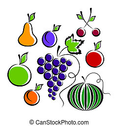 Fruits and Berries. - Different fruit and berries on a white...