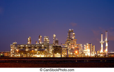 Refinery at night in the Port of Rotterdam, Europoort,...