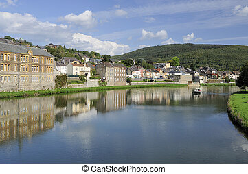 meuse river at montherme', ardennes - village and river,...