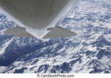 Looping over alps aerial photo