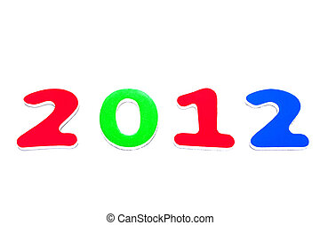 Year 2012 out of red, green, and blue numbers on a white...