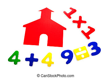 School Days With Math - Little red school house with...