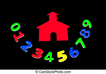 School House With Numbers - Little red school house with...
