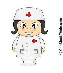 nurse cartoon with a white background isolated