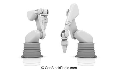 Robotic arms building DONE word - Industrial robotic arms...