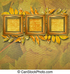 Grunge papers design in scrapbooking style with frame and autumn foliage