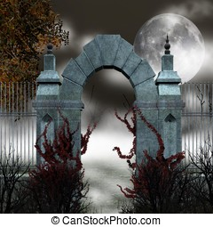 Gothic gate with red ivy and fog - Gothic gate illustration