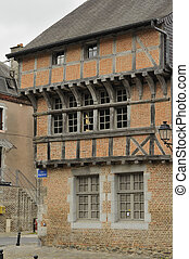wattle building, revin, ardennes - view of old traditional...