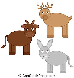 reindeer, donkey and ox cartoons isolated over white..