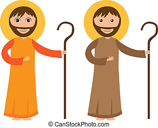 st joseph cartoon isolated, white background vector