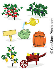 garden - vegetables in the bushes and garden equipment
