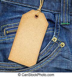 vendimia, papel, etiqueta, azul, tela vaquera