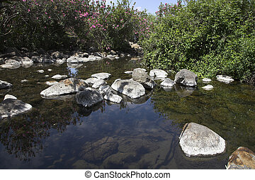Small pond in a granite channel of a mountain stream