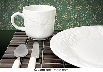 Dinner plate and cup - Dinner plate, white textured China...