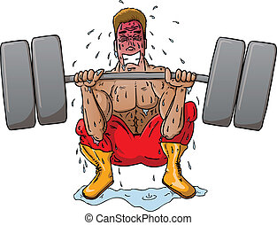 Power Lifter - Man squat lifting a lot of weight
