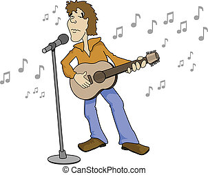Karaoke Singer - Man singing with a mic and guitar