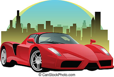 Red Sports Car - Exotic red sports car in front of a...