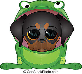 Puppy in Frog Costume - Cute puppy in frog outfit