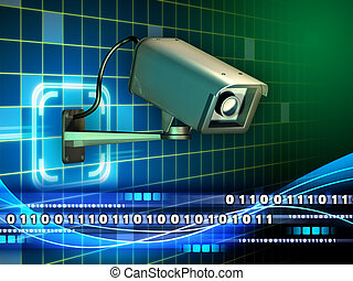 Internet surveillance - Security camera checking a data...