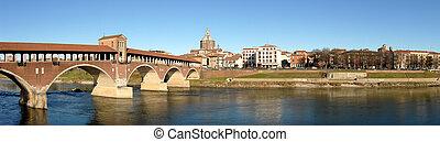 Ponte Vecchio panoramic view, Pavia, Italy