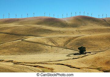 Windmills on a mountain