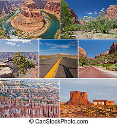 West USA canyons and desert collage - collage photo...
