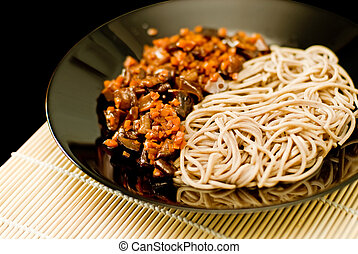 Soba noodles - Spicy soba noodles with shiitake and carrot...