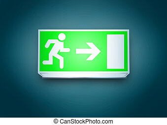 Exit to the right - Green emergency exit to the right light...