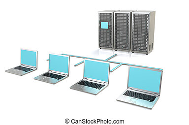 Server Network - 3 Server Racks and Laptops