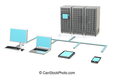 Server Network - 3 Server Racks, Workstation, Laptop, touch...