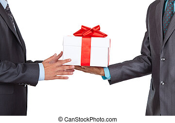 businessman - Businessmen present gift box isolated over...