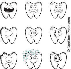 dental cartoon set - set of dentistry vector designs, in...