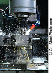 Operation of shaping metal piece machine with metal-working...
