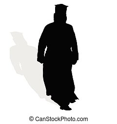 priest silhouette - priest in black art vector illustration...