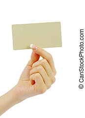 card blank in hand - card blank in a hand