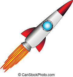 Starting rocket on white background - vector illustration
