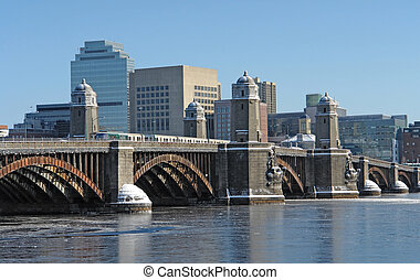 Boston scenery with bridge and river - winter scenery in...