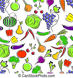 Vegetables and fruit - Vegetables and fruit on a white...