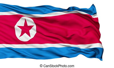 The North Korea Flag - The North Korea waving flag with the...