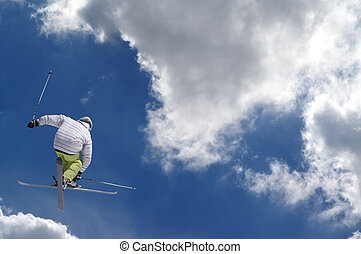 Freestyle ski jumper with crossed skis