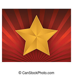 illustration of a gold star on red
