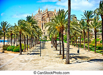 Cathedral of Majorca in Palma de Mallorca Balearic islands...