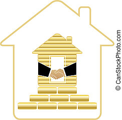 house with gold bricks and handshak