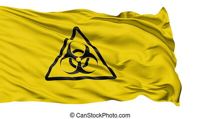 Yellow Biohazard Symbol Wavy Fabric - A close up background...