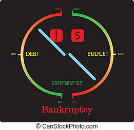 bankruptcy - abstract illustration suggesting big debt and...