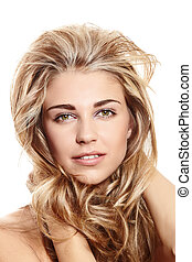 blond woman with long hair - beautiful blond woman with long...