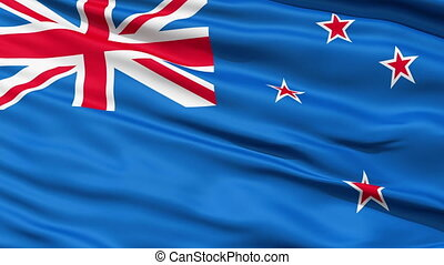 The New Zealand Flag - Waving Flag of New Zealand, comprises...