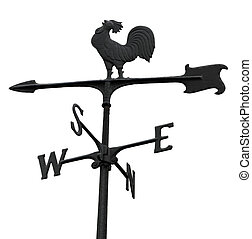 Weathercock - Metal windvane weathercock isolated on white
